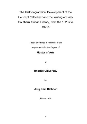 """The Historiographical Development of the Concept """"mfecane"""" and ..."""