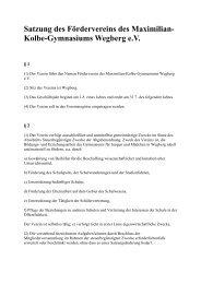 Satzung des Fördervereins - Maximilian-Kolbe-Gymnasium Wegberg