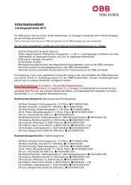 Informationsblatt - Österreichische Bundesbahnen ÖBB