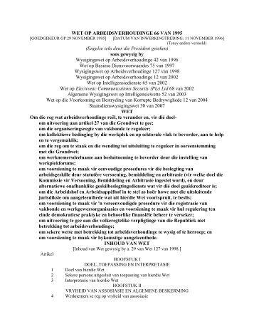 wet op arbeidsverhoudinge 66 van 1995... - Federasie van ...