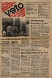 Numerus clausus Herstrukturering van de ASR - Veto