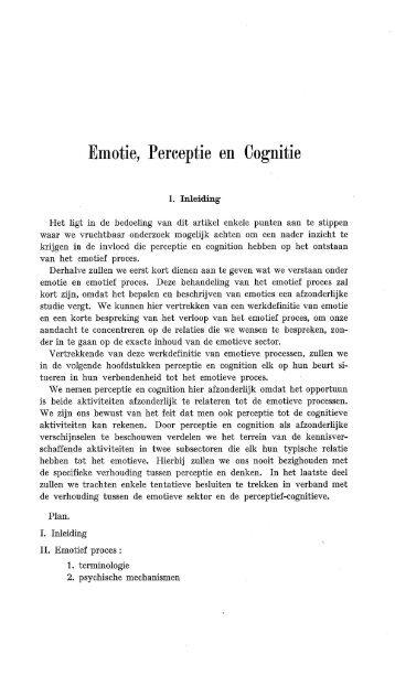 Emotie, Perceptie en Cognitie