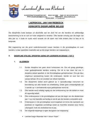 Dissipline - Laerskool Jan van Riebeeck