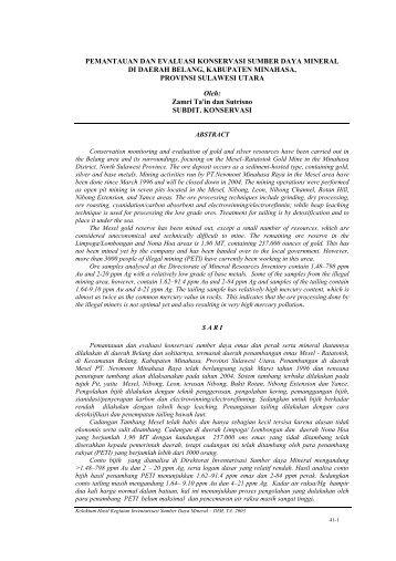 pemantauan dan evaluasi konservasi - Pusat Sumber Daya Geologi