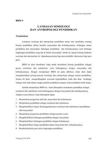 Landasan sosiologi dan antropologi pendidikan