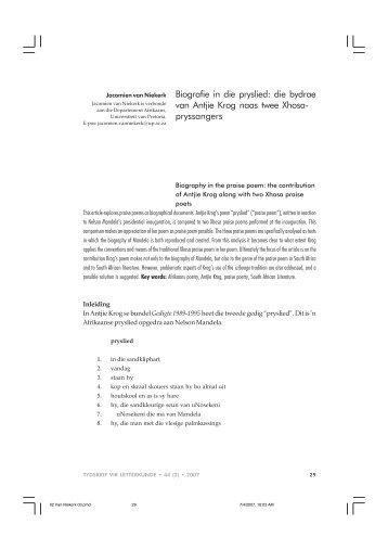 Biografie in die pryslied