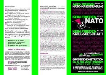 Faltblatt Demonstration/Proteste gegen die NATO ...