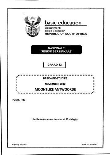 Business Studies Afrikaans - Gauteng Department of Education