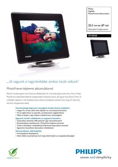 SPH8008/10 Philips Digitális PhotoFrame+akkumulátor