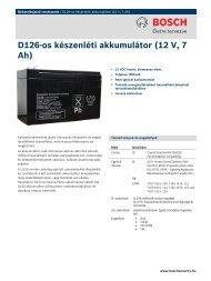 D126-os készenléti akkumulátor (12 V, 7 Ah) - Bosch Security Systems
