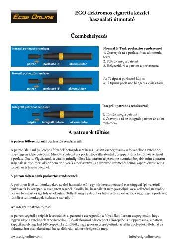 Használati útmutató - Elektromos cigaretta