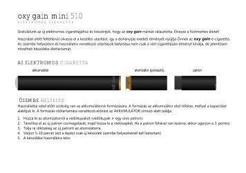Használati utasítás - Elektromos Cigaretta