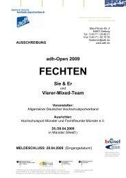 AUSSCHREIBUNG - Allgemeiner Deutscher Hochschulsportverband