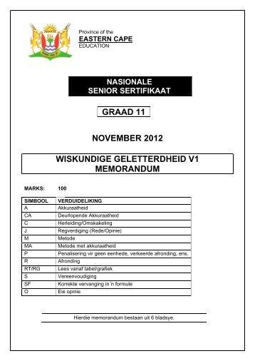 GRAAD 11 NOVEMBER 2012 WISKUNDIGE GELETTERDHEID V1 MEMORANDUM