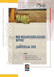 MGK BESIGHEIDSBELEGGINGS BEPERK JAARVERSLAG 2005