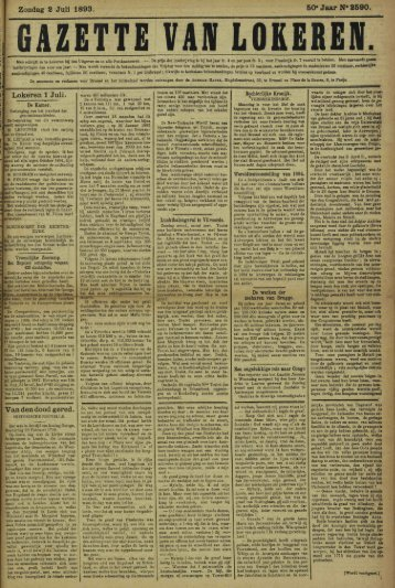 Zondag 2 Juli 1893. 50» Jaar N* 2590. Lokeren 1 Juli. Van den ...