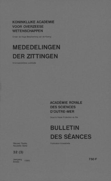 mededelingen der zittingen bulletin des séances - Royal Academy ...
