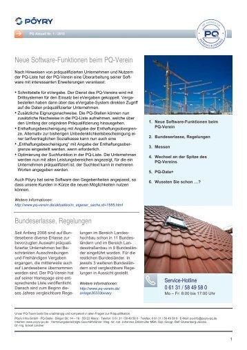 Neue Software-Funktionen beim PQ-Verein - Pöyry Deutschland ...