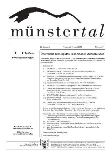 Öffentliche Sitzung des Technischen Ausschusses - Münstertal
