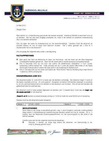 24 Mei 2012 Geagte Ouer Baie dankie vir u ondersteuning ...