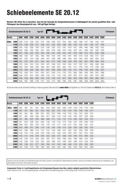 Schiebeelemente SE 20.12 - Multiraum