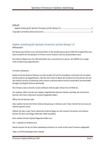 Sprinter Firmware-Update Anleitung Inhalt - Multec