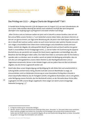 Arbeitsblätter für den Unterricht: Sek. II - Historisches Museum der ...