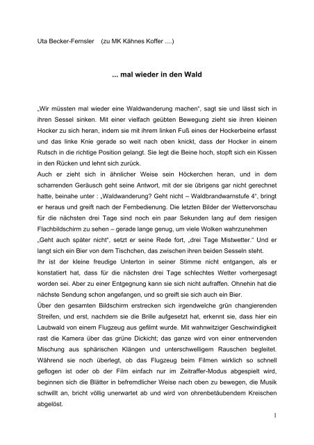 ... mal wieder in den Wald - Museum Junge Kunst Frankfurt