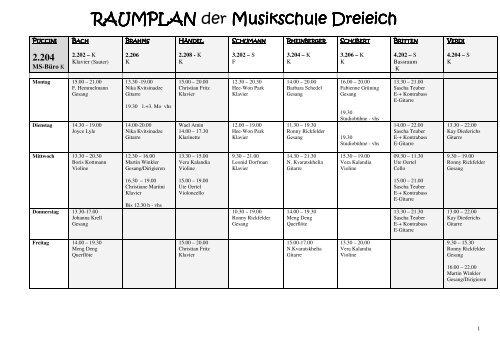 RAUMPLAN RAUMPLAN der Musikschule Dreieich Musikschule ...