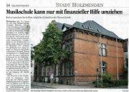 Musikschule kann nur mit finanzieller Hilfe umziehen | 14.07.12