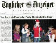 Weihnachtskonzert 2011 - Musikschule Holzminden e.V.