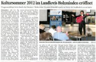 Kultursommer 2012 im Landkreis Holzminden eröffiiet