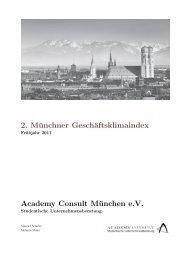 2. Münchner Geschäftsklimaindex Academy Consult München e.V.