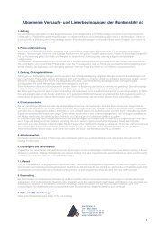 Allgemeine Verkaufs- und Lieferbedingungen der Montanstahl AG
