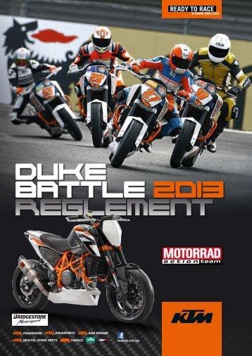 KTM Duke Battle 2013 Ausschreibung inklusive Anlagen