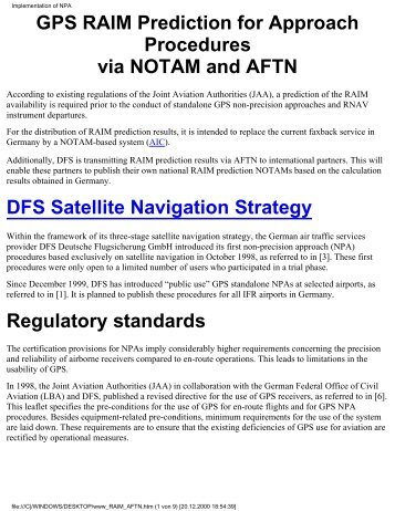 GPS RAIM Prediction for Approach Procedures via NOTAM and AFTN