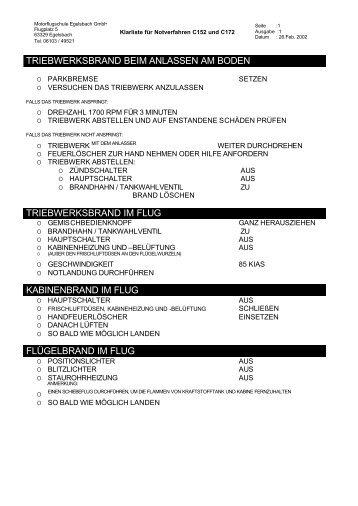 Klarliste für Notverfahren C152 und C172 - Motorflugschule Egelsbach