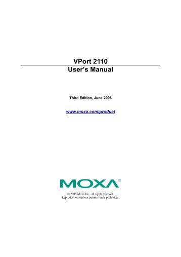 Moxa VPort 2110 Drivers for Windows