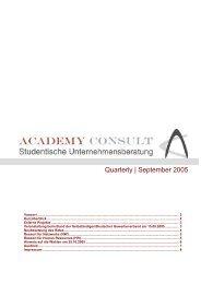 Quarterly   September 2005 - Academy Consult München e.V.