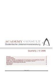 ACADEMY CONSULT München e.V. - Quartely