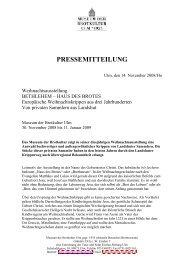 PRESSEMITTEILUNG - Museum der Brotkultur in Ulm