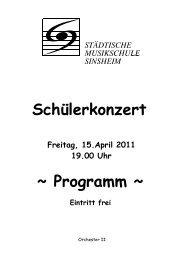 Schülerkonzert ~ Programm ~ - Musikschule Sinsheim