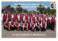 Der Musikverein lädt ein zur Sommer-Hocketse 26.06. bis 28.06. vor ...