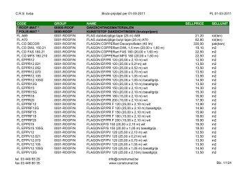 CRS bvba Bruto-prijslijst per 01-03-2011 PL 01-03 ... - Construmat
