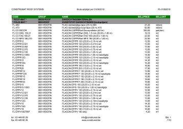 CONSTRUMAT ROOF SYSTEMS Bruto-prijslijst per 01/09/2010 PL ...