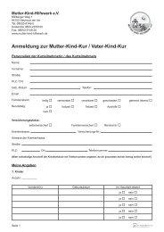 Anmeldung zur Mutter-Kind-Kur / Vater-Kind-Kur
