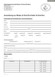Anmeldung zur Mutter & Kind-Kur/Vater & Kind-Kur