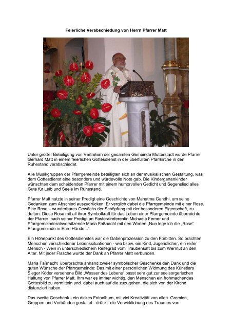 Feierliche Verabschiedung Von Herrn Pfarrer Matt