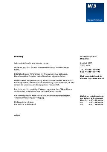 Antrag VISA-Card - Mainzer Volksbank eG