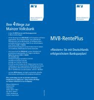 Flyer MVB-RentePlus - Mainzer Volksbank eG